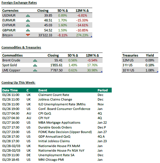 Foreign Exchange Rates + Commodities and Treasuries - 25.01.21